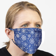 Celeste Stein Ear Loop Mask-Blue Winter Snowflakes